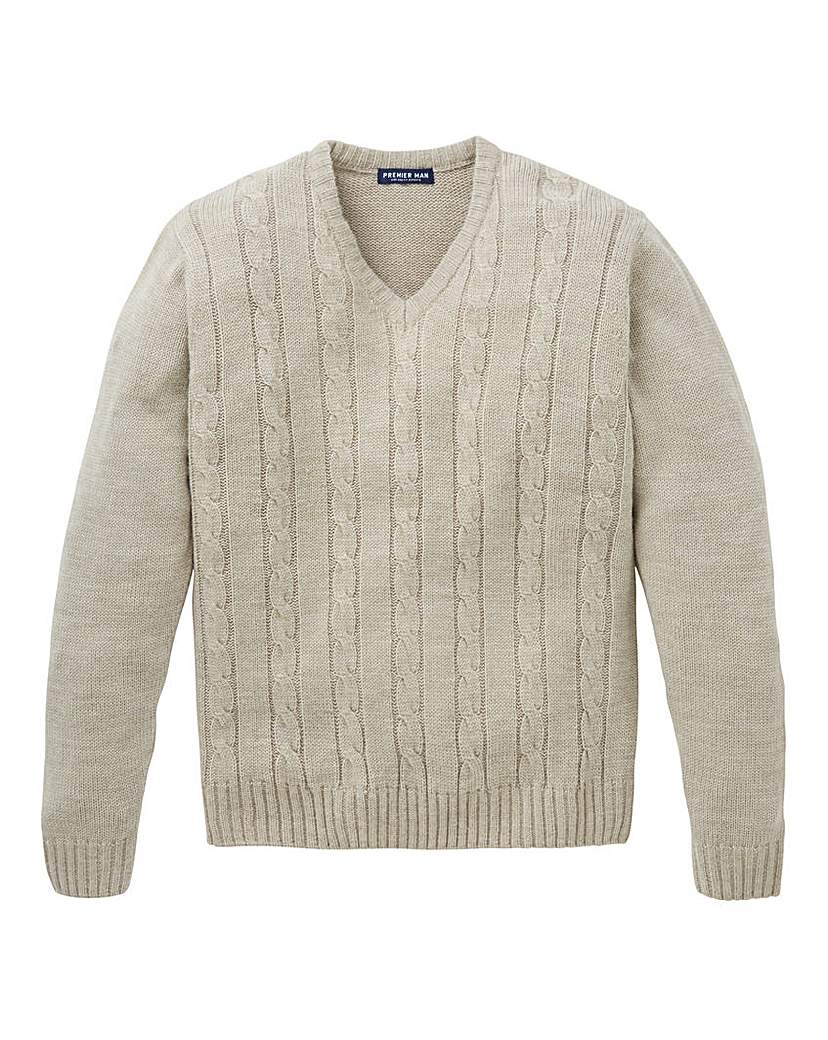 Men's Vintage Style Sweaters – 1920s to 1960s Premier Man V Neck Cable Sweater £24.50 AT vintagedancer.com