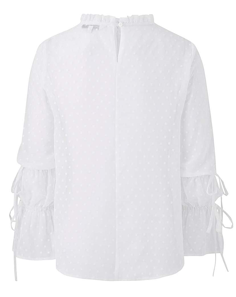 Capsule White High Neck Fluted Sleeve Blouse