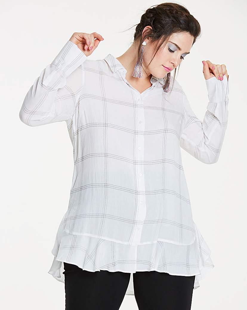 Simply Be Ivory Check Frill Hem Shirt