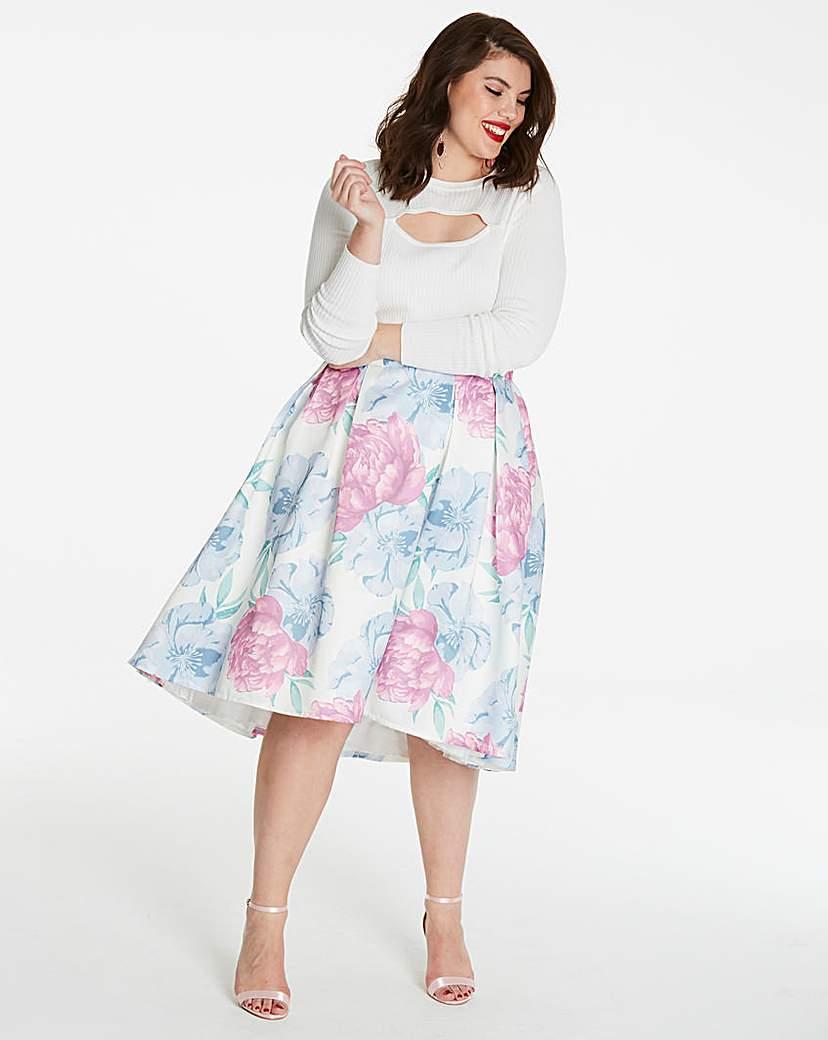 Hi Low Hem Print Prom Skirt