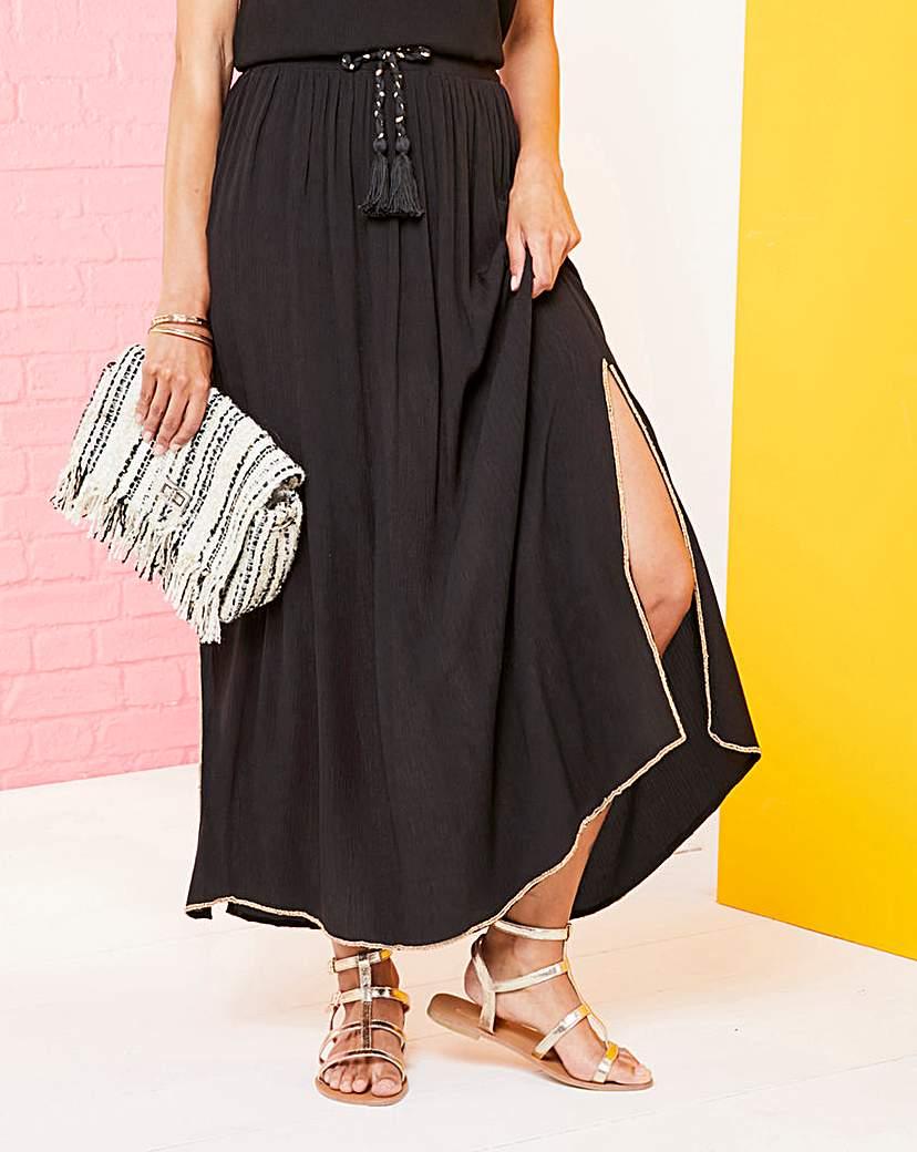 Simply Be Beaded Trim Crinkle Maxi Skirt