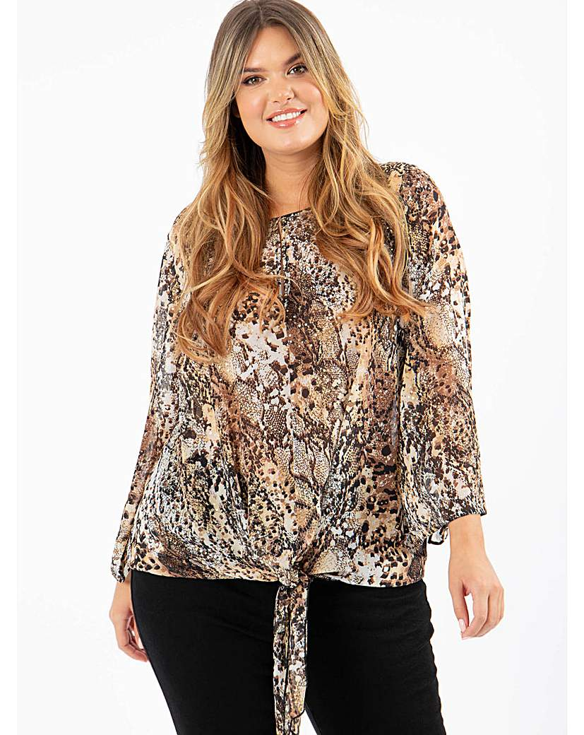 Lovedrobe GB Animal Print Tie Front Top