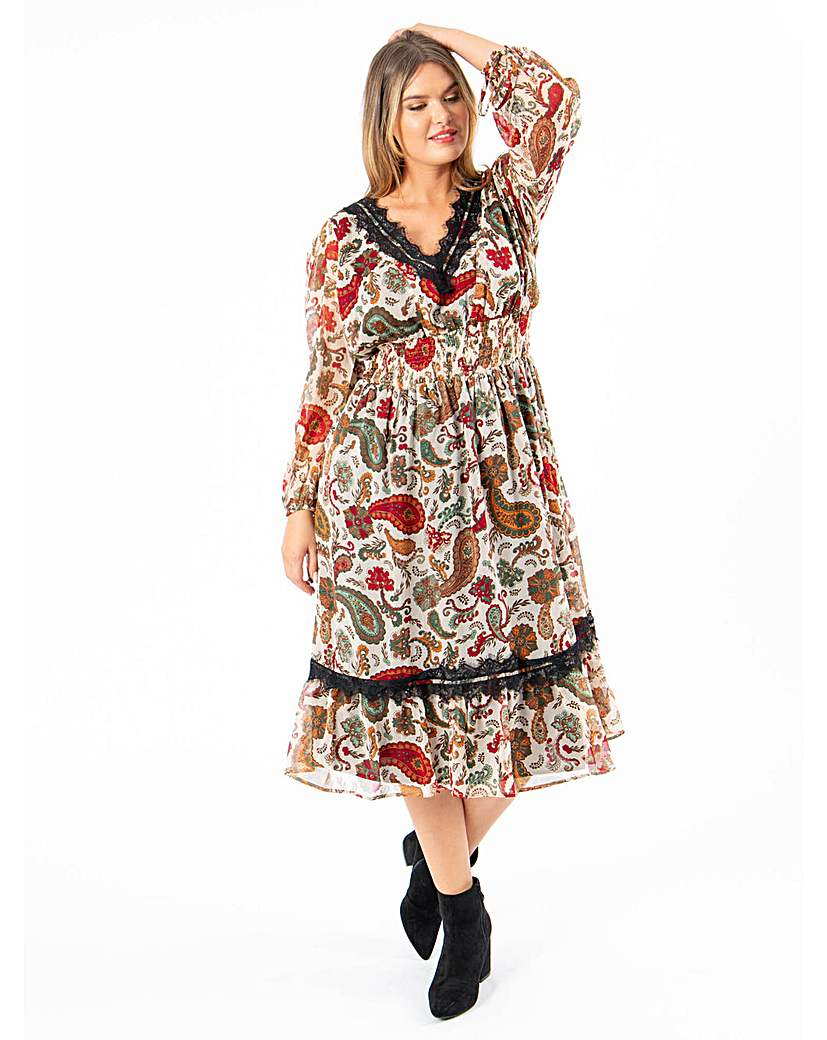 Vintage Inspired Dresses & Clothing UK Koko Paisley Midi Dress £36.00 AT vintagedancer.com