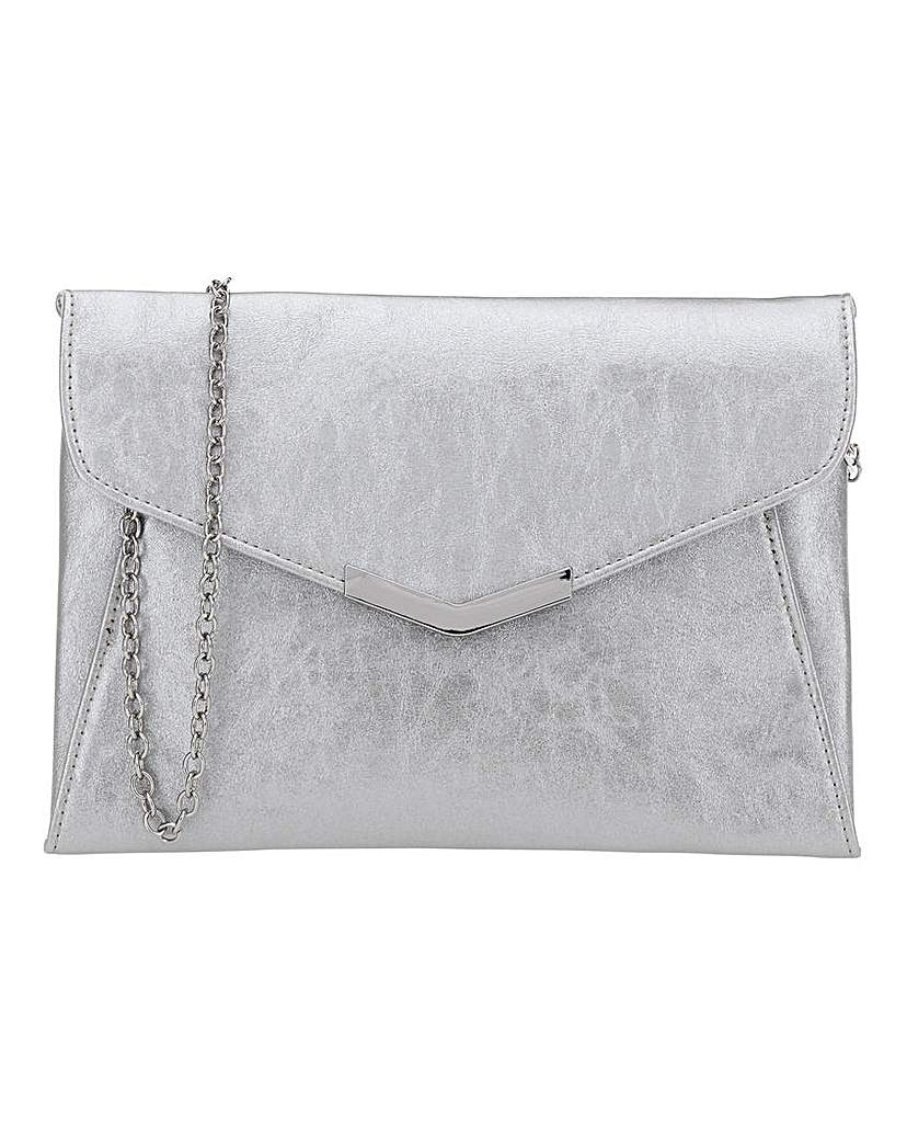 Simply Be Silver Anna Clutch With Metal Trims