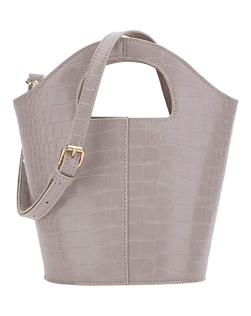 Simply Be Cutout Handle Grey Croc Bucket Bag