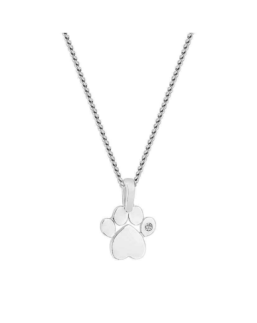 Simply Silver by Jon Richard Simply Silver Paw Print Necklace