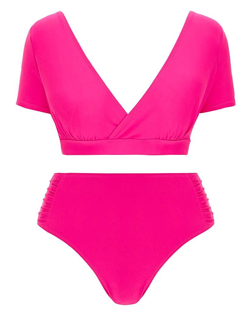 Simply Be Cap Sleeve Crop Top Bikini Set