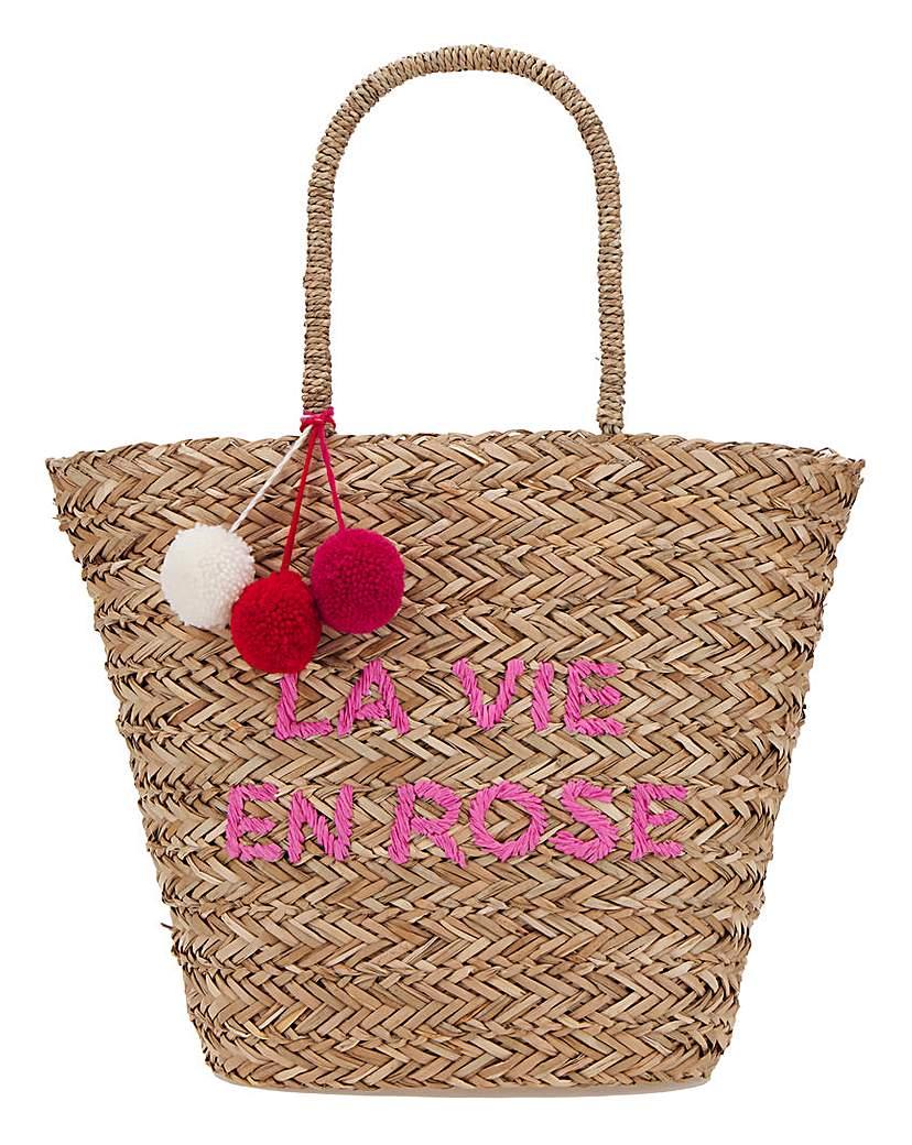 Simply Be La Vie En Rose Basket Weave Large Tote