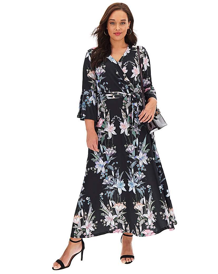 Joanna Hope Joanna Hope Black Print Wrap Maxi Dress