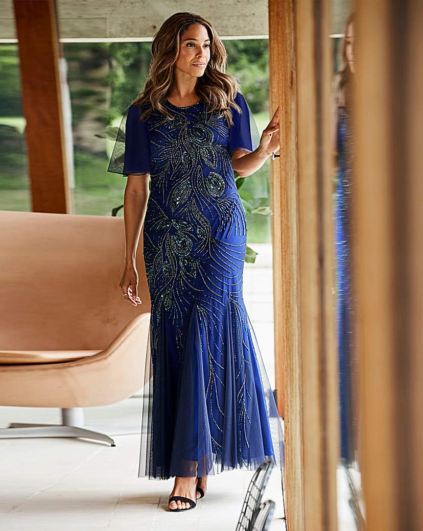 Vintage Evening Dresses and Formal Evening Gowns Joanna Hope Peacock Beaded Maxi Dress £165.00 AT vintagedancer.com