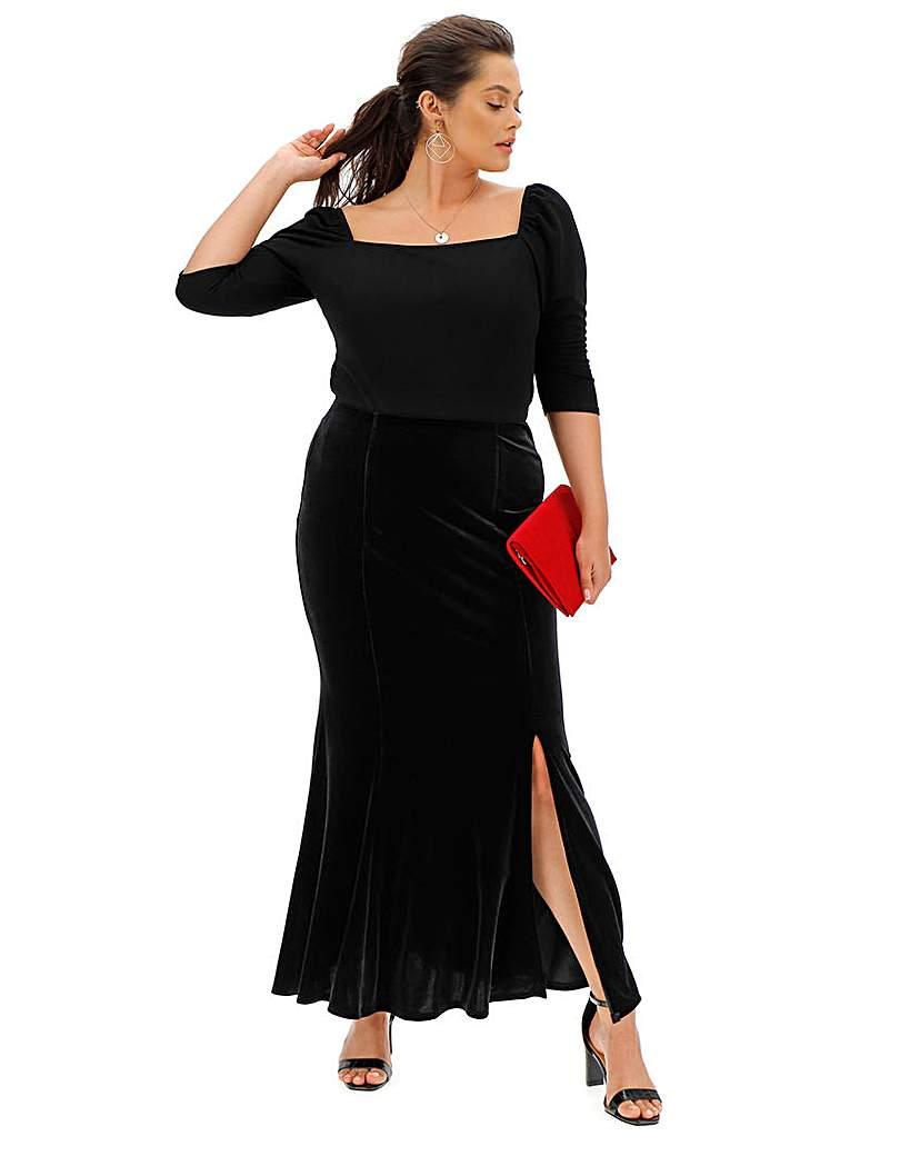 Joanna Hope Joanna Hope Velour Maxi Skirt