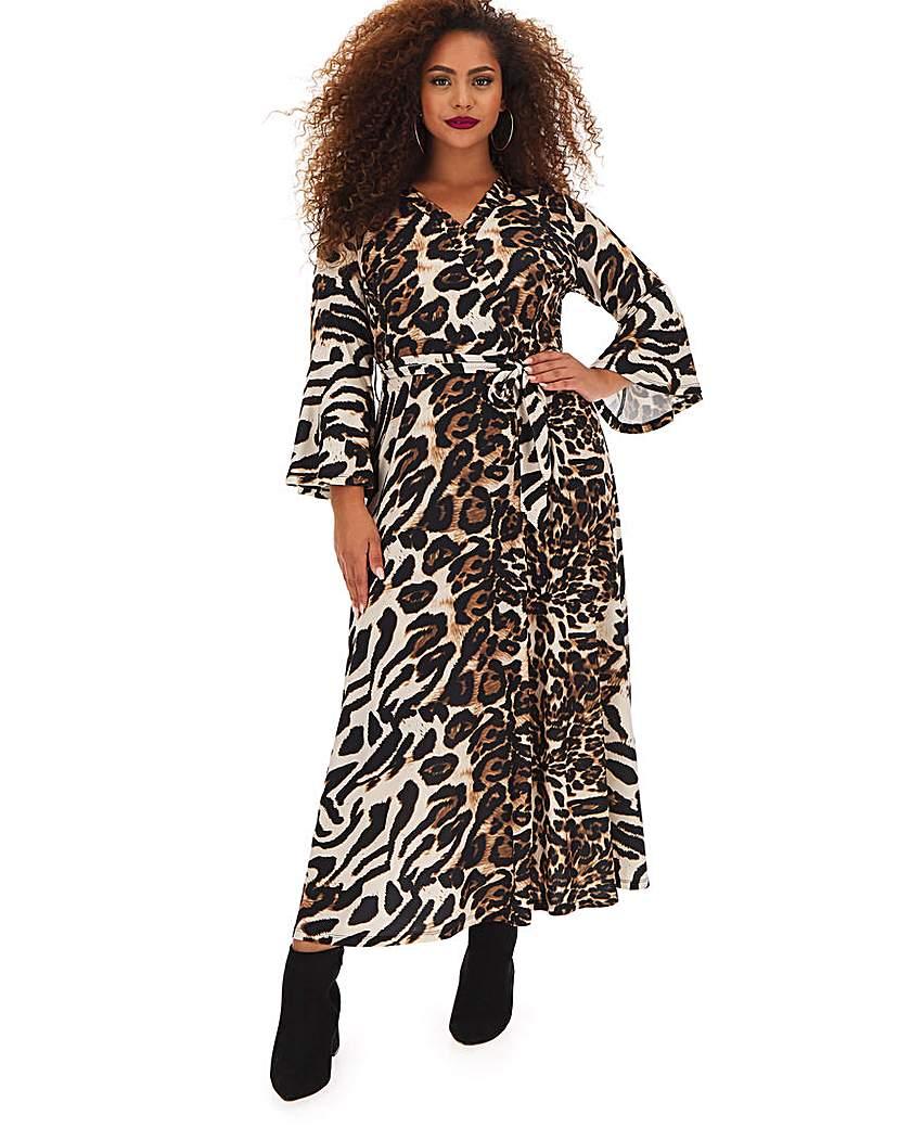 Joanna Hope Joanna Hope Animal Print Wrap Maxi Dress