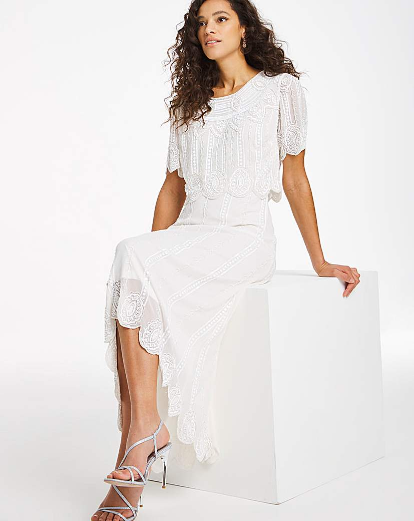 White Flapper Dresses, White 1920s Dresses Joanna Hope Beaded Layer Dress £150.00 AT vintagedancer.com