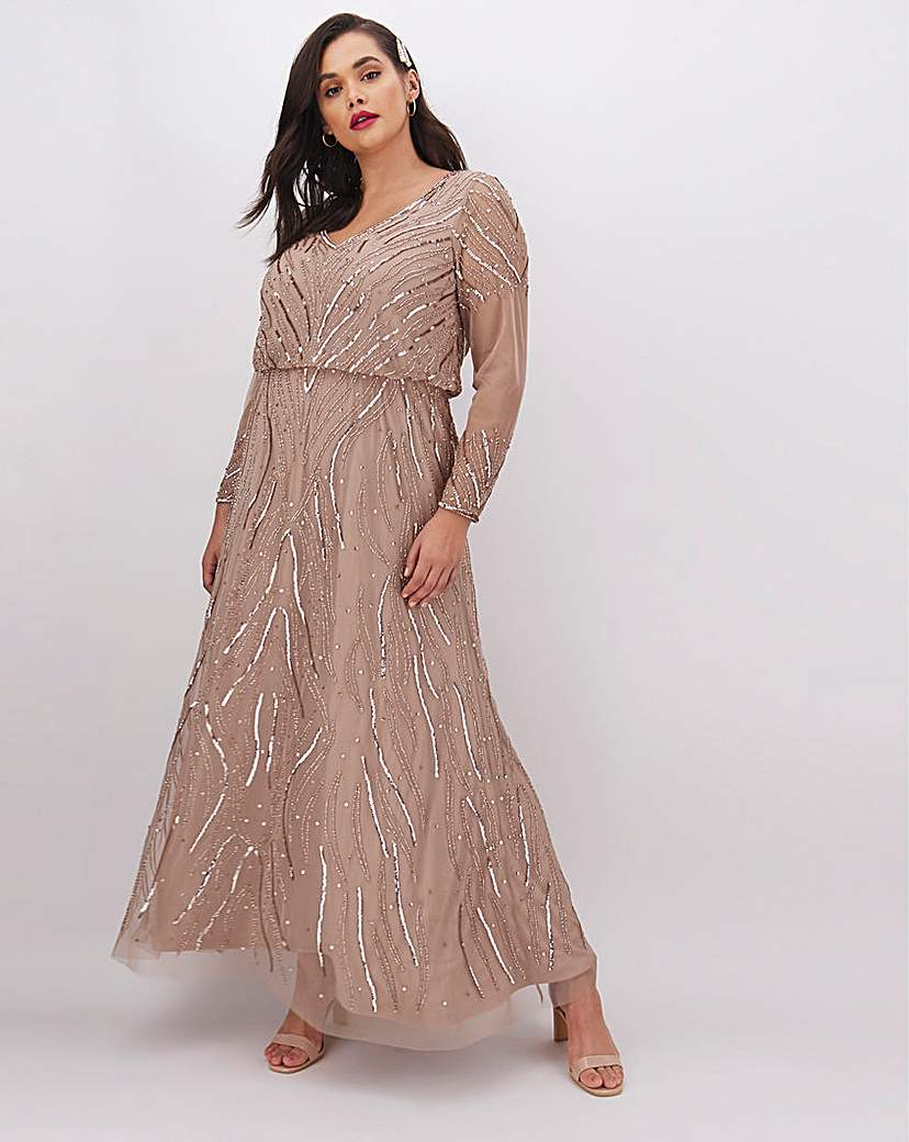Joanna Hope Joanna Hope Beaded V-Neck Maxi Dress