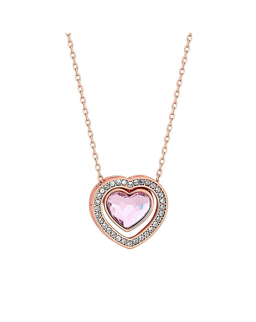 Jon Richard Swarovski Rose Heart Pendant