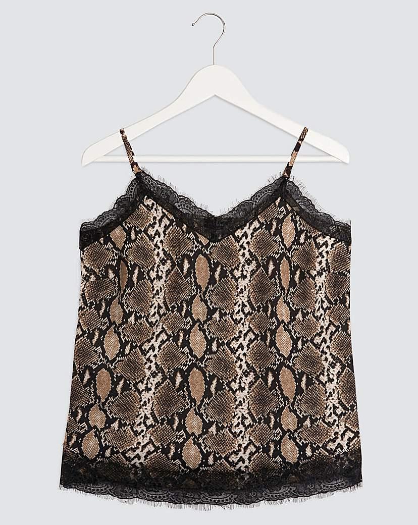 Simply Be Snake Print Lace Trim Cami