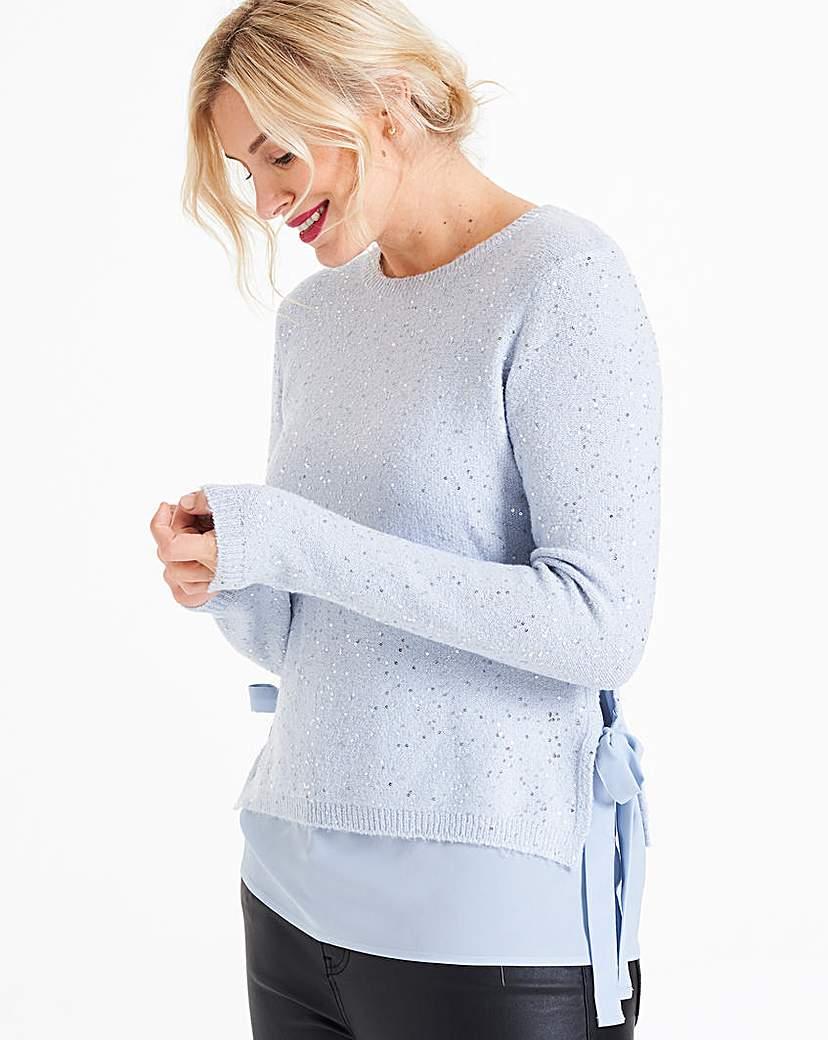 Oasis Curve Sequin Knit Jumper