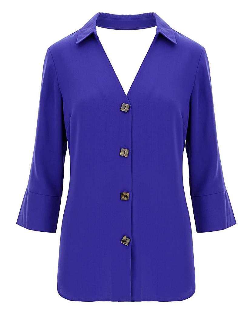 Capsule Blue Cut Out V-Neck Button Shirt