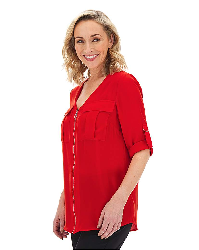 Red Double Pocket O-Ring Zip Shirt
