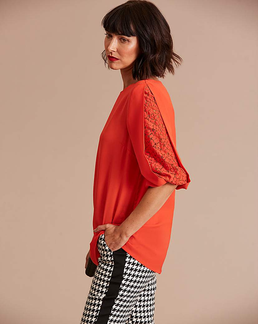 Bright Red Lace Sleeve Insert Blouse