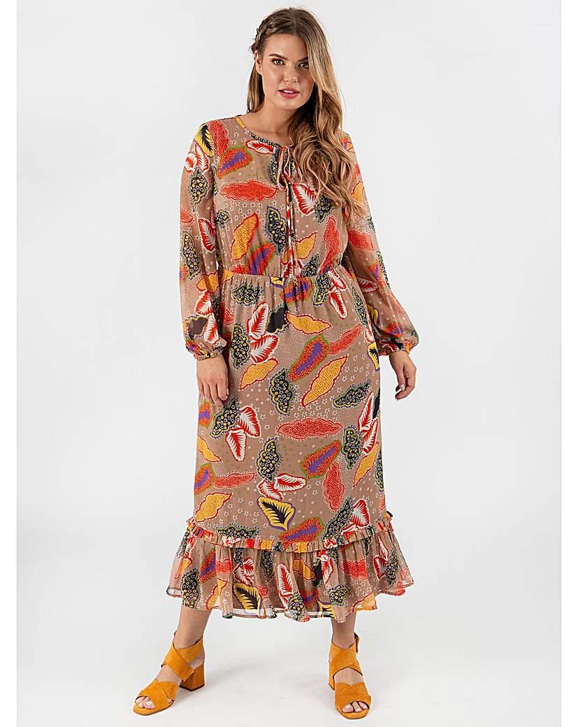 Koko Leaf Print Maxi Dress