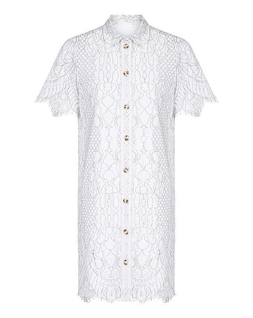 Yumi Curves Corded Lace Shirt Dress