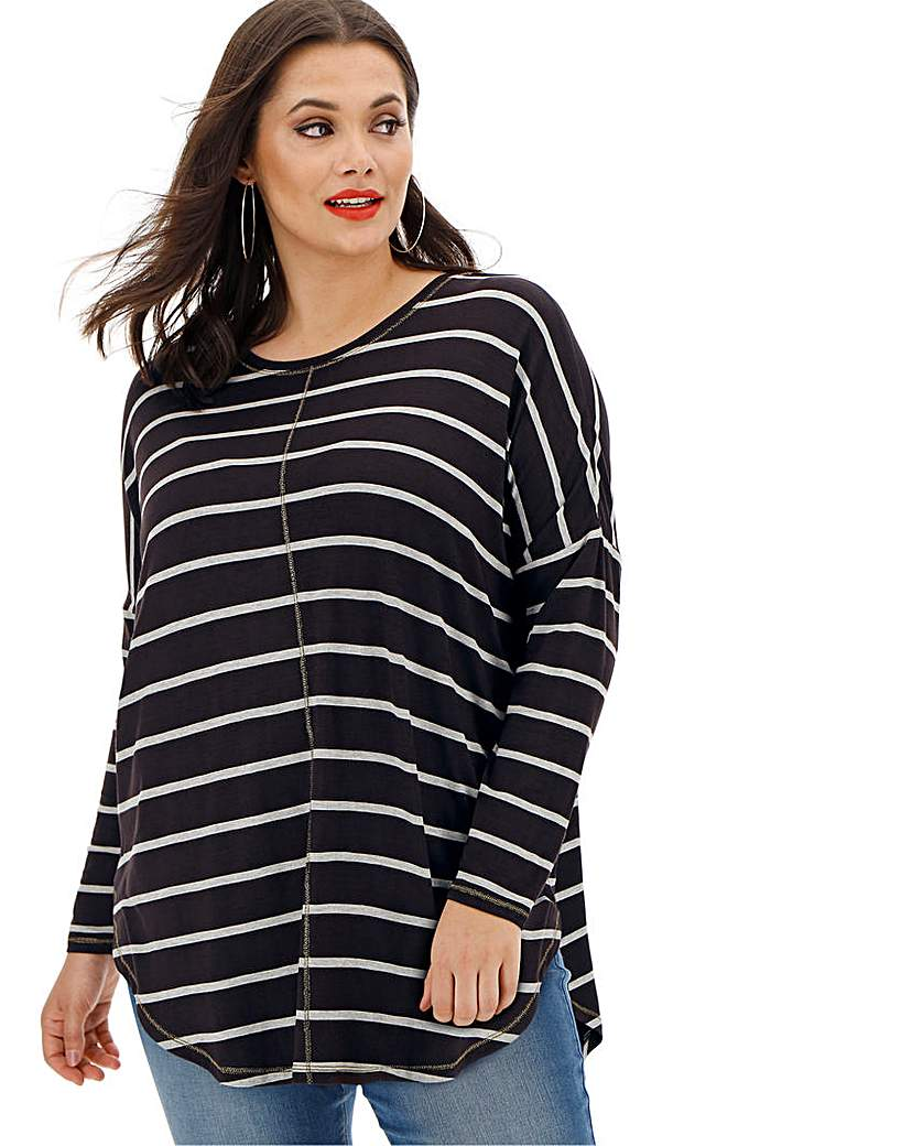 Black/ Grey Oversized Stripe Tunic