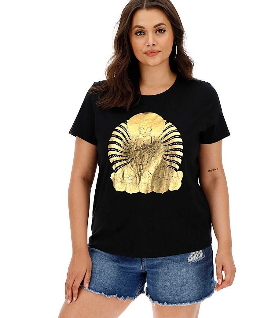 Gold Foil Buddha Slogan T-Shirt