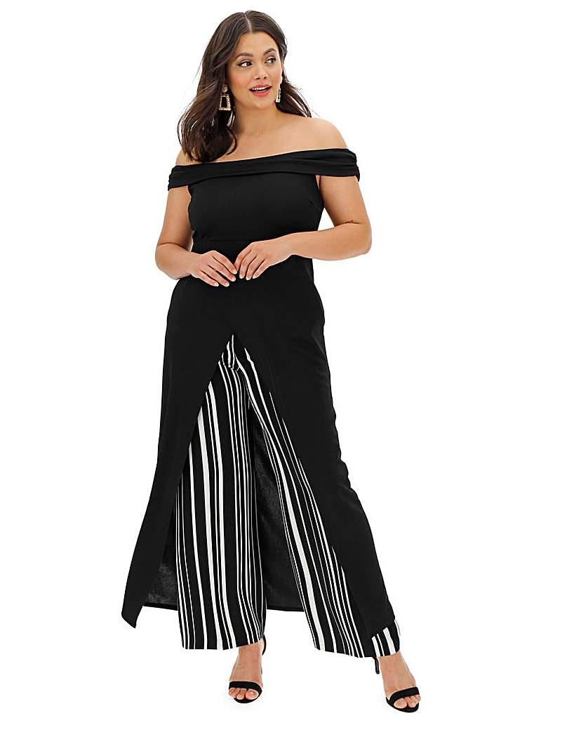 Simply Be Black Maxi Wrap Bardot Tunic Top
