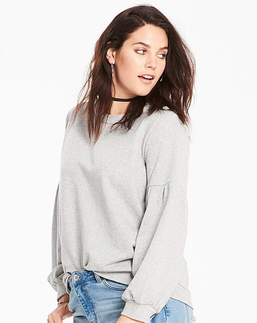 Simply Be Grey Marl Balloon Sleeve Sweatshirt