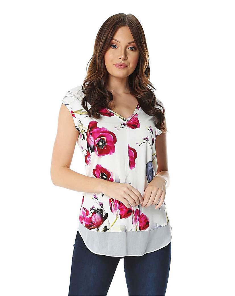 Roman Floral Chiffon Hem T-Shirt
