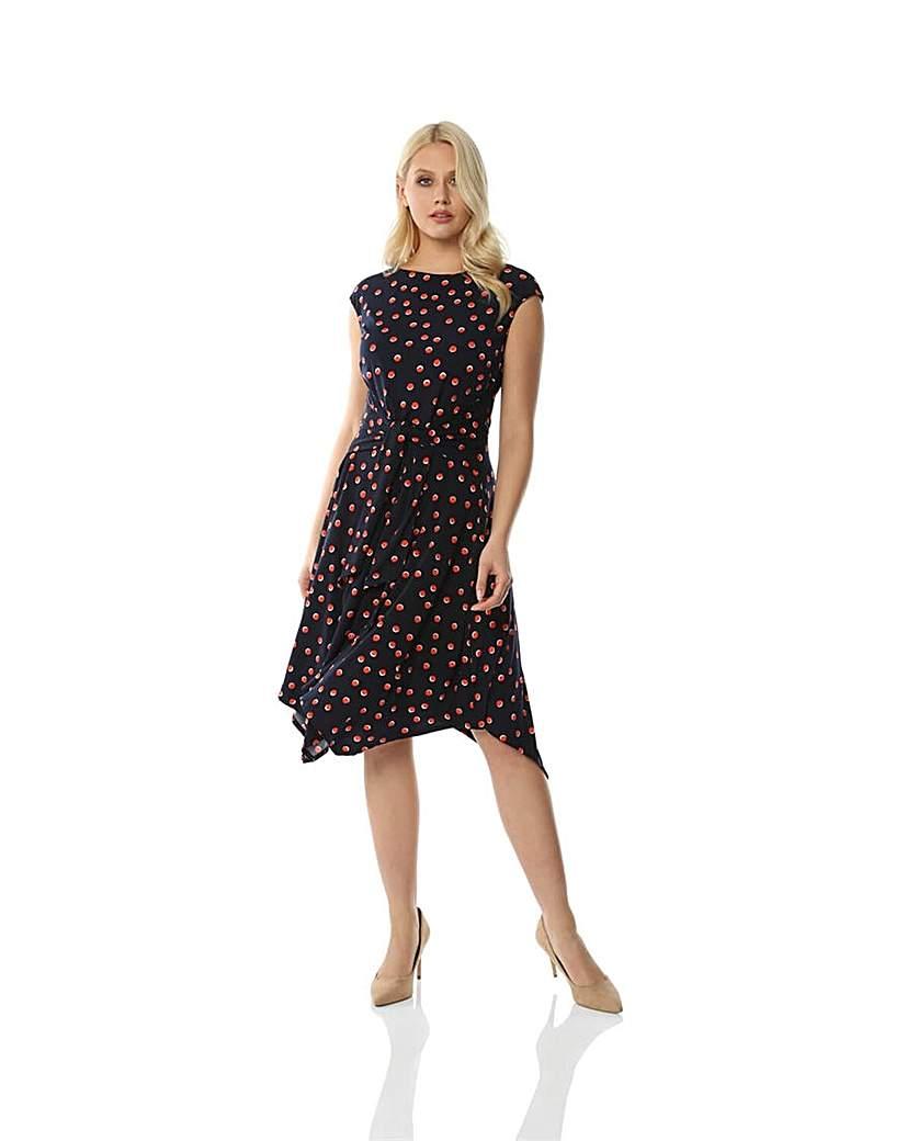 Roman Polka Dot Print Hanky Hem Dress