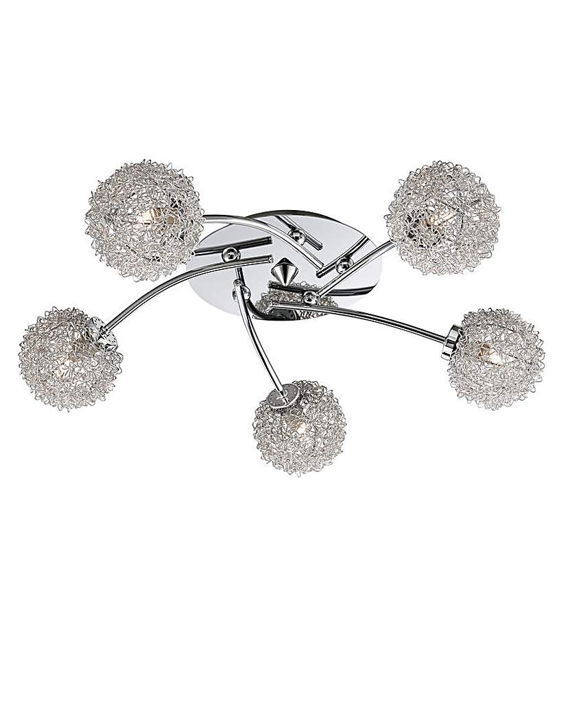 Image of 5-Light Chrome Flush Ceiling Light