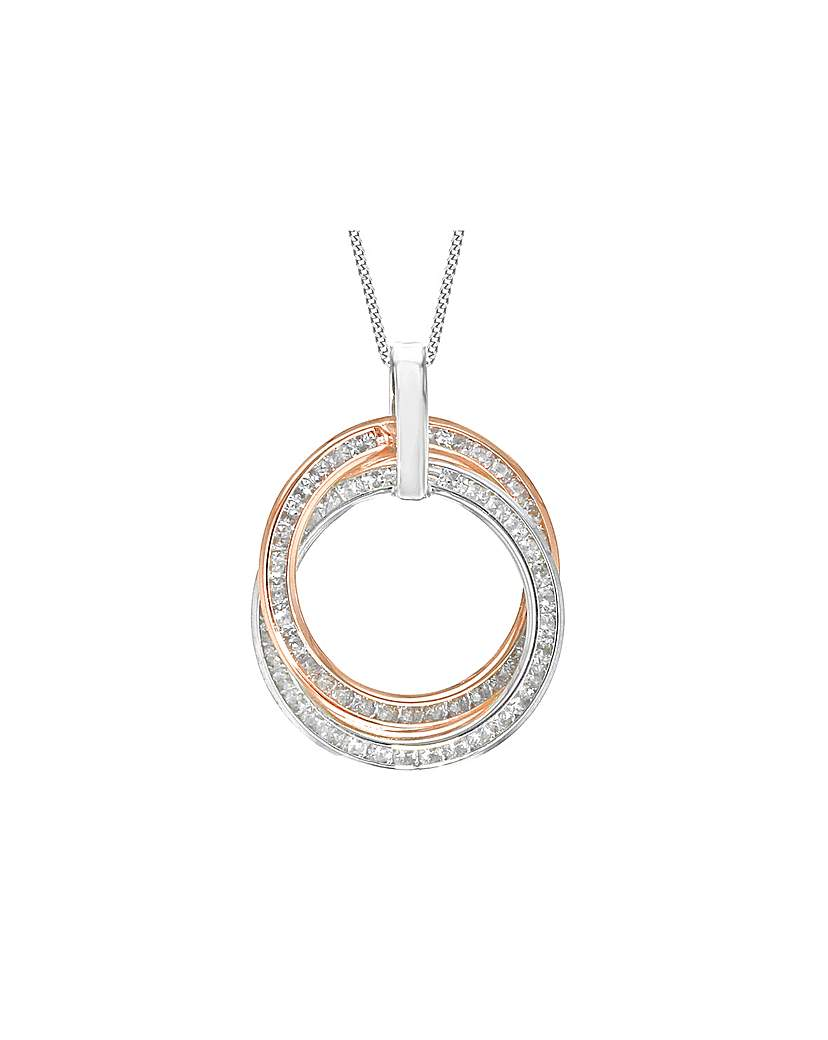 Simply Be 9Ct Gold CZ Rings Necklace