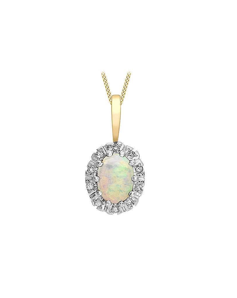 Simply Be 9Ct Gold Diamond & Opal Necklace