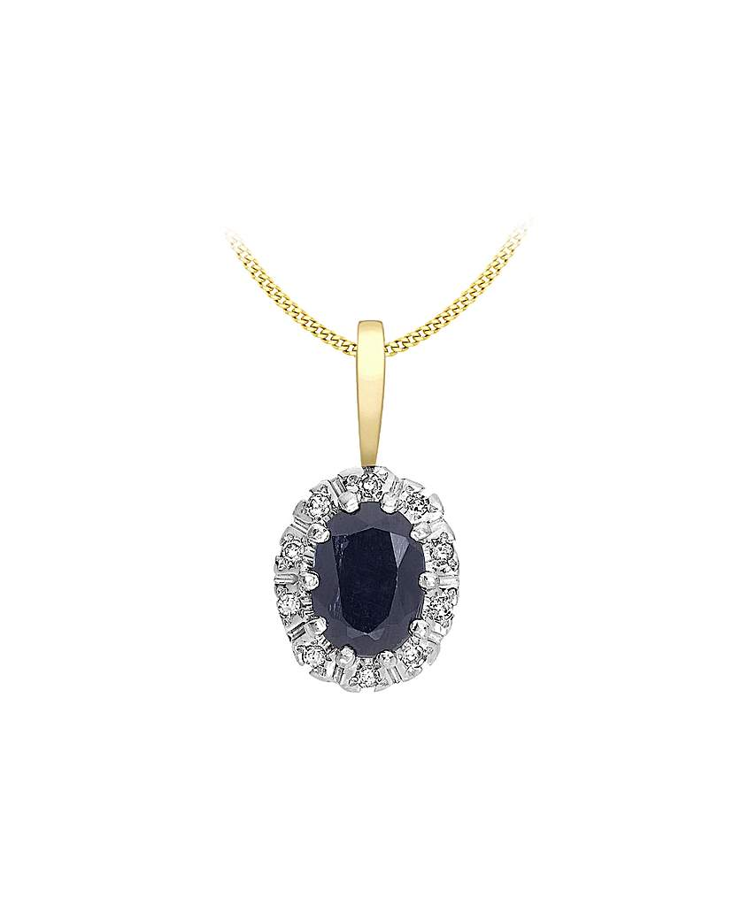 Simply Be 9Ct Gold Diamond & Sapphire Necklace