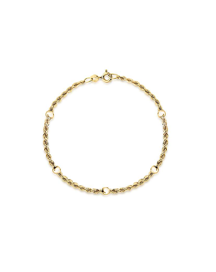Simply Be 9Ct Gold Rope & Balls Bracelet