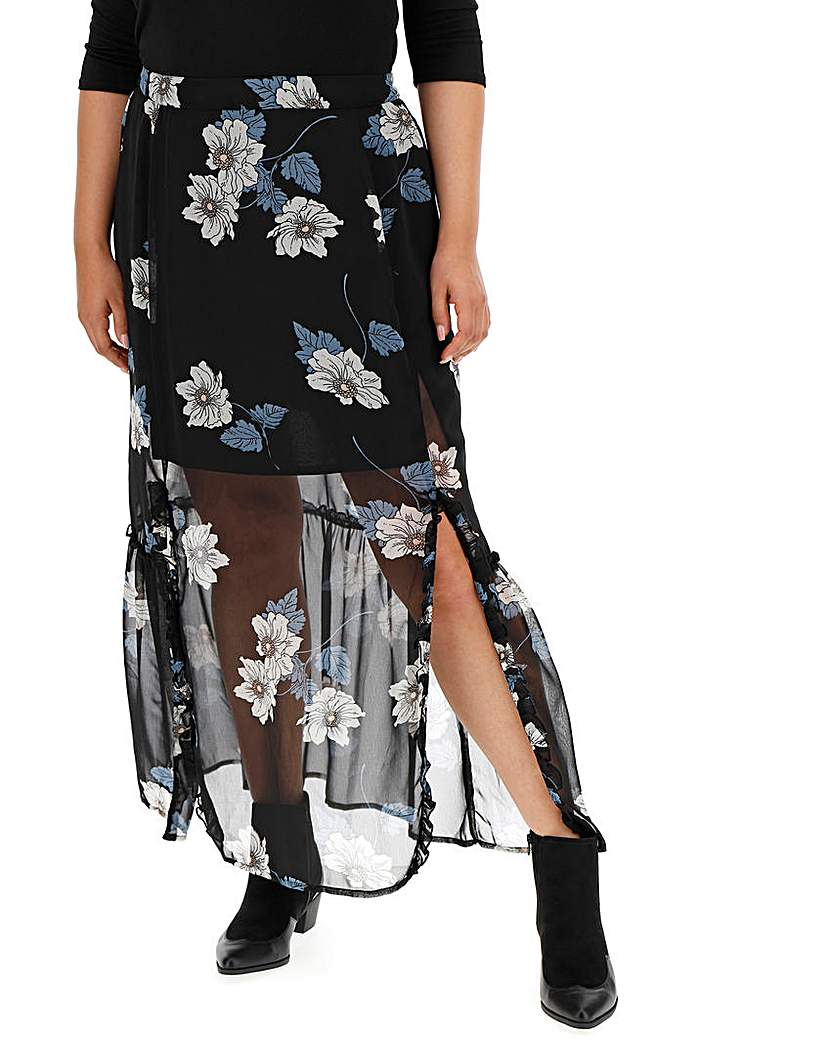 Simply Be Double Split Print Maxi Skirt