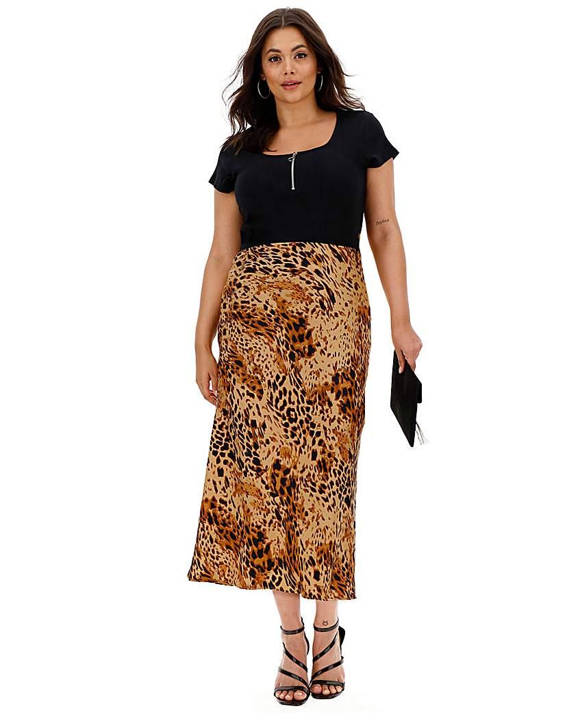 Simply Be Leopard Print Satin Column Midi Skirt