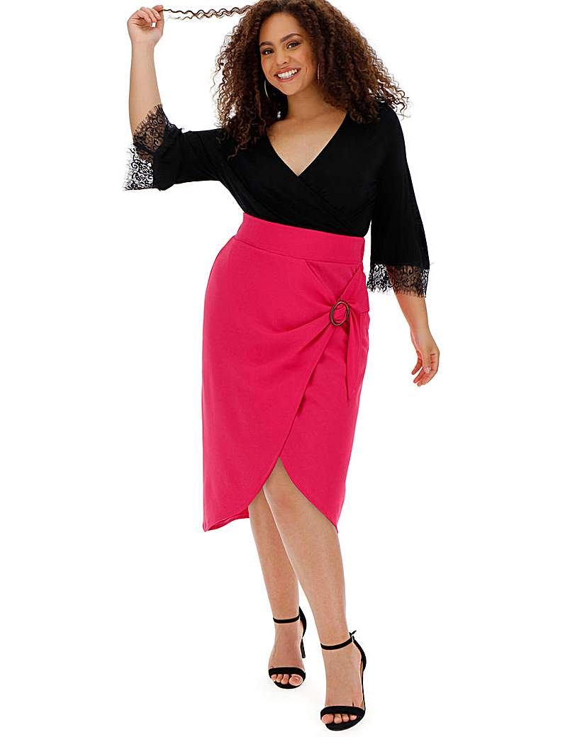 Simply Be Buckle Trim Wrap Midi Skirt