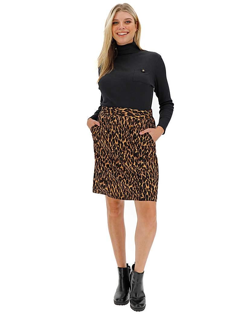 Simply Be Leopard Print Crepe Mini Skirt