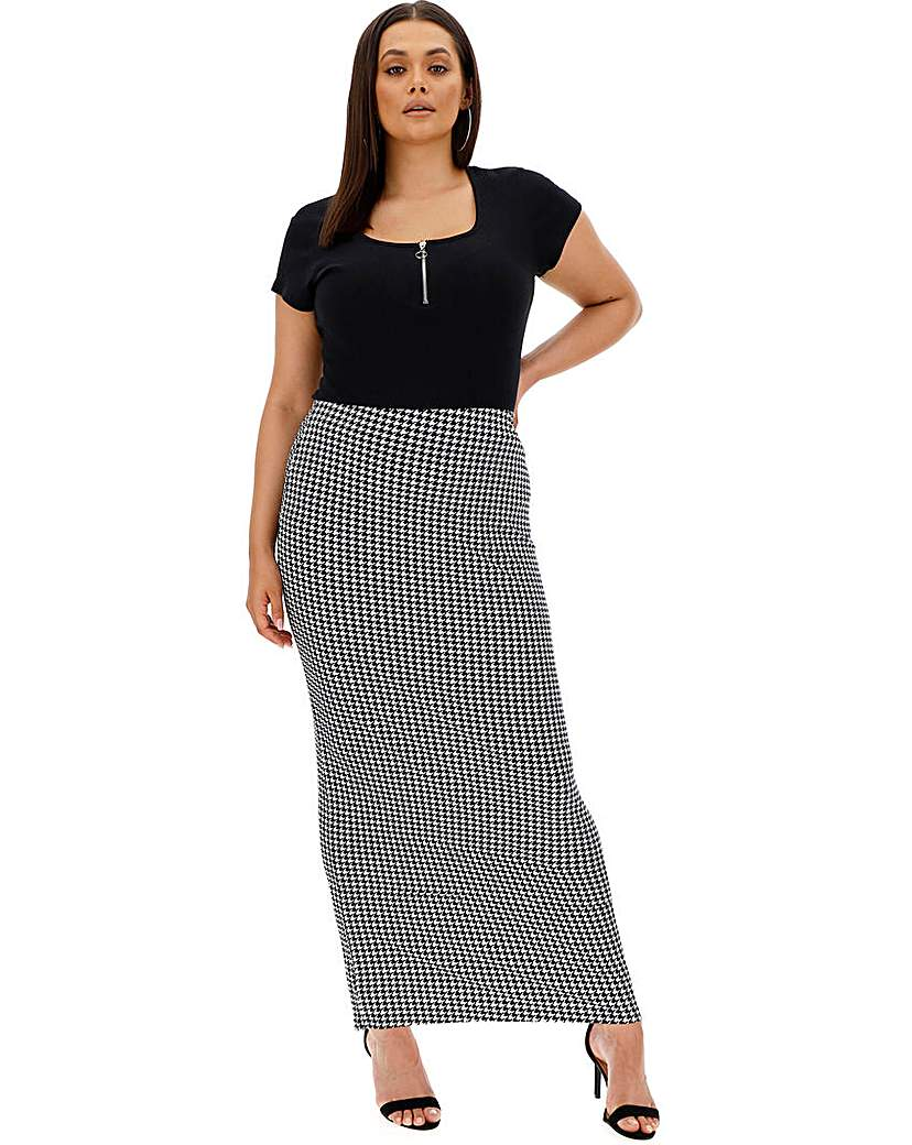 Capsule Houndstooth Check Jersey Maxi Tube Skirt
