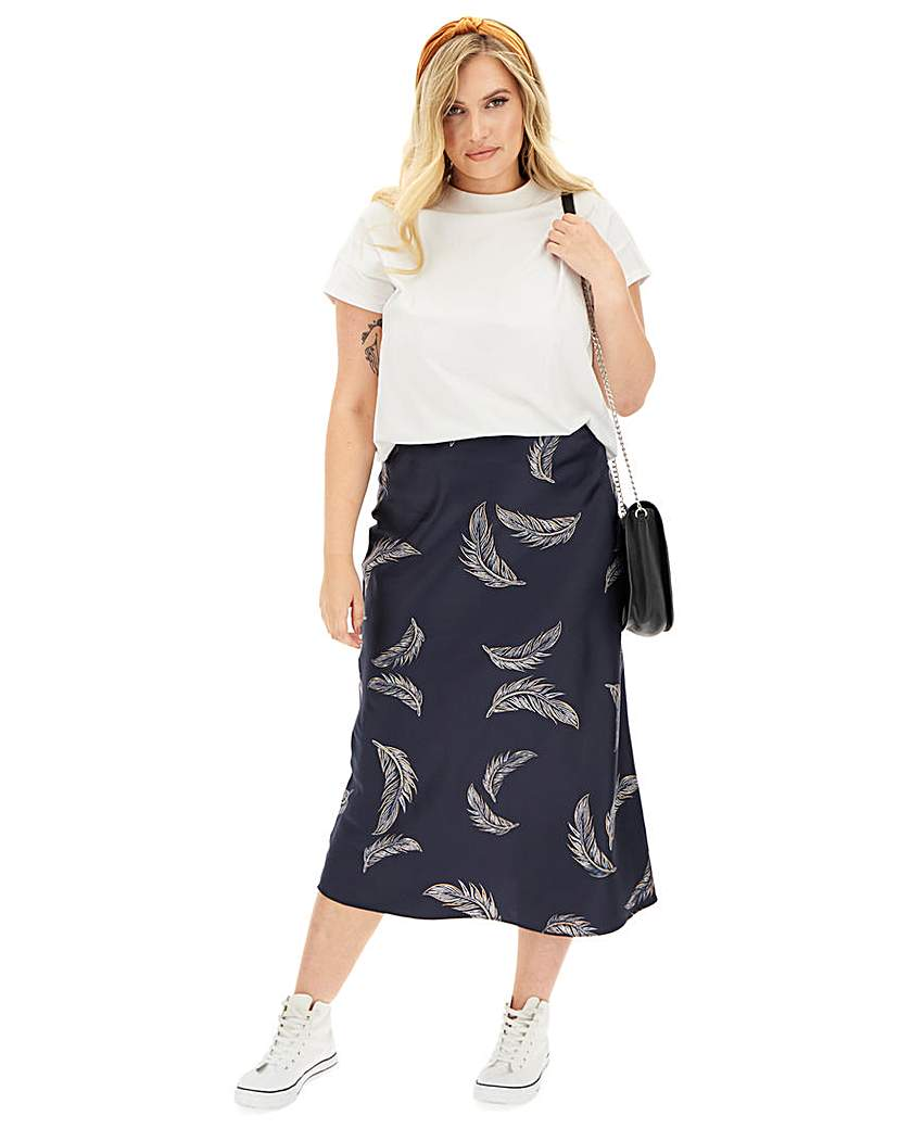 Simply Be Feather Print Satin Column Maxi Skirt