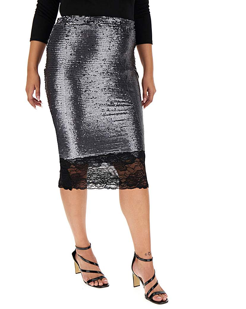 Simply Be Lace Hem Sequin Pencil Skirt
