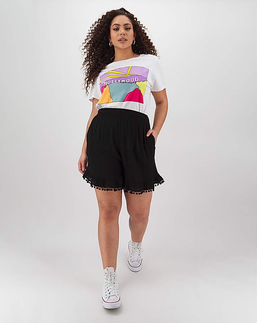 Simply Be Crinkle Pom Pom Trim Shorts