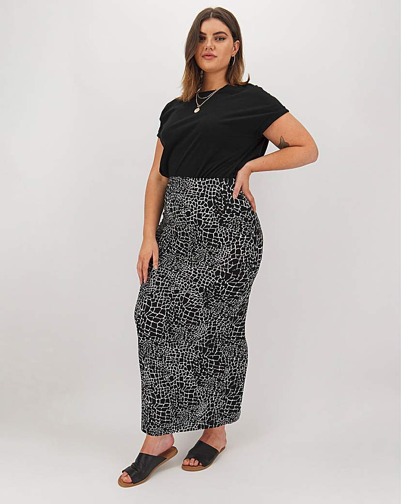 Simply Be Mono Print Jersey Maxi Tube Skirt