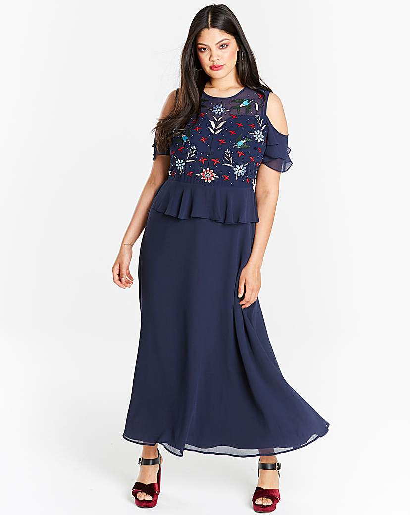 Simply Be Embroidered Peplum Maxi Dress