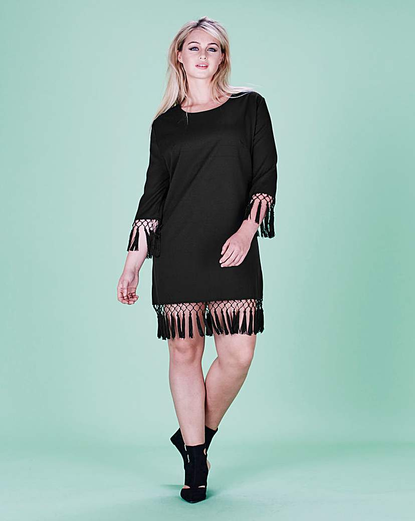 Lavish Alice Lavish Alice Tassel Hem Shift Dress