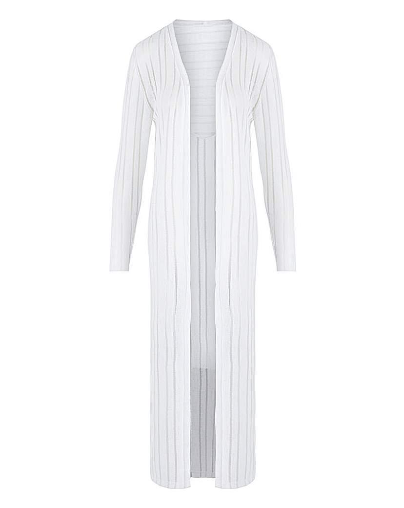 Capsule White Cut & Sew Sheer Longline Cardigan