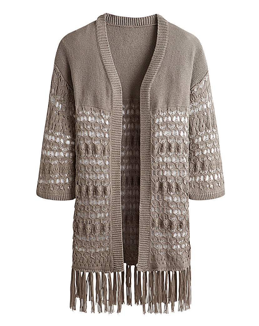 Simply Be Open Knit Fringe Cardigan